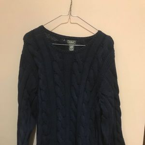 LL Bean navy cable knit sweater size XL